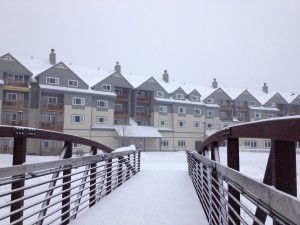 Killington Grand Hotel, looking from the pedestrian bridge over the pond