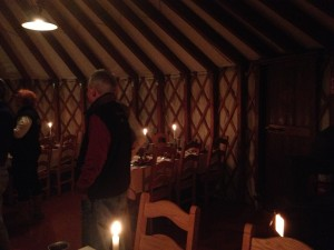 The yurt has soft lighting, though not as dark as this photo suggests