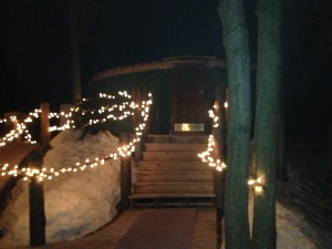 Strings of lights welcome visitors to the Ledgewood yurt at Killington