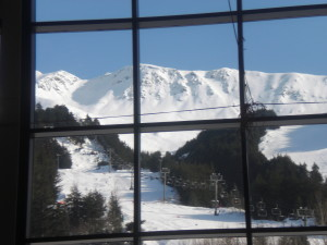 The Aleyska day lodge offers a good view of the mountain.